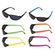 Black Wrap Around Sunglasses w/ Neon Colored Temples - Sunglasses with neon colored temples and super dark lenses
