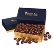 Chocolate Covered Almonds in Navy & Gold Gift Box - navy and gold gift box filled with chocolate covered almonds