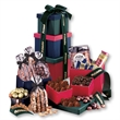 Regal Sampler Tower - multi-colored tower filled with chocolates, nuts, and other food items