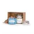 """Holiday Candle Set - 4"""" x 6"""" cardboard gift box with two apothecary jar holiday scented candles, five fragrances from which to choose."""