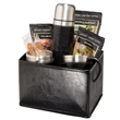 Tuscany™ Thermal Bottle & Cups Coffee Set - Tuscany™ thermos and two coffee cups with three packs of coffee and two sugar sticks, in a faux leather gift basket.