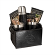 Empire™ Thermos & Cups Coffee Set - Folding bin gift set with two coffee cups, a thermos, three packs of coffee, and sugar sticks.