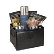 Casablanca™ Thermos & Cups Coffee Set - Gift basket with thermos, two coffee cups, three packs of coffee, and two sugar sticks.