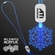 LED Neon Blue Lanyard with Acrylic Snowflake Pendant -