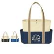 "Tri-Color Tote Bag - Tri-Color Tote Bag.  Made of 600 Denier Polyester.  Top Snap Closure.  1 Front Pocket, 2 Side Pockets.  23"" Handles."