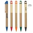 Eco Inspired Pen - Eco-friendly pen with paper barrel, wooden clip and plunger action.