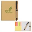 Eco-Friendly Notebook With Pen - Eco-friendly notebook with pen, sticky flags, and sticky notes.