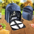2-Person Picnic Backpack Set - Two person picnic cooler set includes spoons, forks, and knives, plates, wine glasses, and features cooler compartment, and strap.