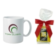 Tea Taster Mug with Mug Stuffer - Stoneware mug stuffer with four assorted tea bags..  Great drinkware corporate food gift for the holidays or Christmas.