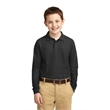 Port Authority Youth Long Sleeve Silk Touch Polo. - Port Authority Youth Long Sleeve Silk Touch Polo.