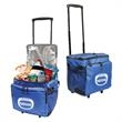 48-CAN ROLLING COOLER - Fully insulated, zippered compartment 24 can cooler with adjustable shoulder strap.