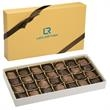 Fascia's 16 oz. Pecan Caramel Bites - Gold 16 oz. box filled with dark and milk chocolate pecan caramel bites.