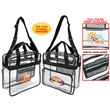 """Deluxe Clear Stadium Messenger Tote - Clear stadium tote bag with 48"""" adjustable shoulder strap, zippered closure, front zipper pocket, mesh zipper pocket, etc."""
