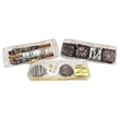 Chocolate Chip Fudge Brownies - Clear box trimmed with gold with 4 Chocolate Chip Fudge Brownies.