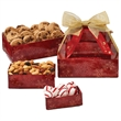 Three-Tier Tower - Bakery Items, Nuts, Mints - This three-tier tower includes chocolate chip cookies, mixed nuts, and peppermints puffs.  Great holiday food gift.