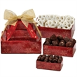 Three-Tier Tower - Pretzels, Truffles, Almonds - This three-tier tower includes white chocolate pretzels, chocolate truffles, and chocolate almonds.  Great food gift.