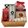 Coffee & Cookie Gift Basket with Travel Tumbler - Chocolate dream caddy box with chocolate almonds, cookies, wafer bites, almond butter crunch. Holiday corporate food gift basket.