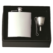 Captive-Top Pocket Flask Gift Set with Funnel & Chain - Stainless steel flask with captive top, funnel with chain, velveteen pull-string sack and black gift box