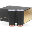 2- 20 oz Black stainless copper lined Joe Tumbler Gift set - Gift set with two 18/8 double walled vacuum sealed travel mugs