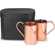 Gift Set of 2 Moscow Mule Mugs - Gift set of two copper mugs in a leatherette gift box.