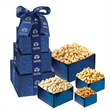 Contemporary Nutty Tower - Gift box tower filled with various nuts including peanuts, cashews, and pistachios.