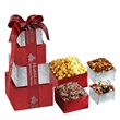 Contemporary Tower of Snax - Tower of snax filled with popcorn, chocolate covered pretzels, nuts and truffles.