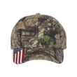 Outdoor Cap Camo Cap with Flag Visor - Structured, six-panel cap with flag. Blank product.
