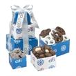 Custom Tower of Signature Indulgence - Custom tower filled with yogurt and milk chocolate pretzels, nonpareils and bridge mix