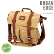 """Grady Large Canvas Messenger Bag - 3"""" x 13"""" x 11.5"""" messenger bag made of canvas and leather with an adjustable shoulder strap and top zipper closure."""