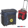 Diamond Collection 42-Can Rolling Cooler - Polyester cooler with PU coating and foam insulation with a zipper closure and handle and wheels for rolling