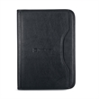 Deluxe Executive Padfolio - Black simulated leather padfolio with curved exterior pocket.