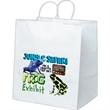 Brute-White - White kraft paper shopper with matching twisted paper handles and serrated cut top.