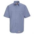 Red Kap Mini-Plaid Uniform Short Sleeve Shirt - Mini plaid short-sleeve shirt with seven tortoise shell button down front and left chest pocket.