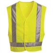 Red Kap High Visibility Safety Vest - Safety vest with hook and loop closure on the front, adjustable sides, and reflective silver striping.