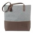 Leather Heathered Tote - Tote bag with genuine leather accents