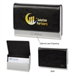 Executive Business Card Holder - Stainless steel business card holder with polyurethane material case and felt interior