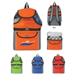 All-In-One Insulated Beach Backpack - Beach backpack with mesh top compartment and adjustable padded shoulder straps.