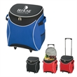 Splash Rolling Kooler - Polyester rolling cooler with large zippered main compartment, retractable auto lock handle and nylon wheels.