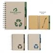 "Eco-Rich 5"" x 7"" Spiral Notebook & Pen - Eco-friendly spiral notebook and matching pen with elastic pen loop."