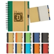"Eco-Friendly 5"" x 7"" Spiral Notebook & Pen - Spiral notebook and pen with elastic pen loop and elastic band closure."