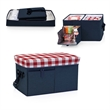 Ottoman Cooler - Insulated, collapsible cooler with 24-can capacity.