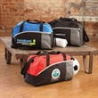 Duffel Bag - Polyester duffel bag with hook and loop closure, front pocket and mesh pocket.
