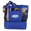 2 in 1 Beach Bag Cooler - 600D polyester and nylon mesh beach tote with zippered cooler section on bottom and food-grade PEVA waterproof lining.