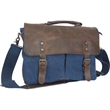"""Dax Canvas Messenger Bag - 16"""" x 12"""" x 4 1/2"""" compact messenger bag with a laptop sleeve, top-zipper closure and fold over flap with buckles."""