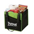 Cube Non-Woven Utility Tote - Non-woven cubed tote with handles and an angled front pocket.