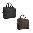 """Solo® Mercer Briefcase - 3.75"""" x 12"""" x 16"""" Solo Mercer leatherette and cotton canvas briefcase; includes 15.6"""" laptop pocket and leather luggage tag."""