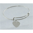 """Expanding Bracelet With Charm - Silver, expandable, rhodium-plated, 10"""" bracelet in a drawstring velour pouch."""
