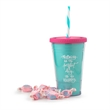 16 0z. Plastic Slurpy Tumbler with straw and Taffy - Double Wall Tumbler with Taffys, screw-on lid, straw, and 16 oz capacity.