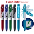 """1-Day Rush Transformer™ Pen, Stylus, Stand, LED - 5 1/2"""" multi-purpose tool with ballpoint pen, stylus, cellphone stand and LED flashlight."""