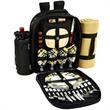 Picnic Backpack for Four with Blanket - Fully equipped picnic backpack cooler for four people, with a large picnic blanket.